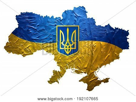 Ukrainian Map with Painted Flag Texture and Blazon EPS10