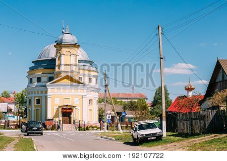 Chachersk, Gomel Region, Belarus - May 14, 2017: Transfiguration Church. Orthodox Church At Sunny Summer Day In Chechersk