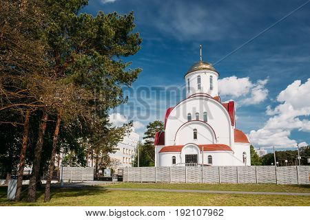 Gomel, Belarus. Construction Of A Modern Church Temple Of The Holy Great Martyr Healer Panteleimon In The City District Of The Medical Town. Sunny Spring Or Summer Day
