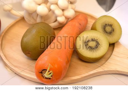 Mix fresh vegetables and fruits for healty patient or diet people.