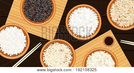 Different types of rice in bowls on dark wooden background. Basmati, wild, long brown, arborio, sushi. chopsticks. bamboo mats. Vector illustration. top view. For culinary, fastfood
