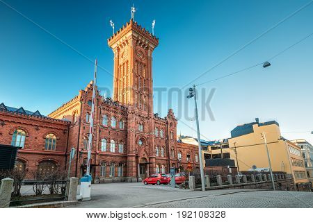 Helsinki, Finland - December 6, 2016: Erottaja fire station, Rescue Station In Korkeavuorenkatu Street In Sunny Day. Kaartinkaupunki Neighbourhood