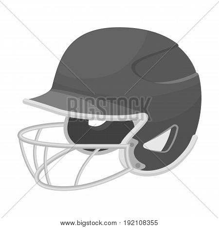 Baseball helmet. Baseball single icon in monochrome style vector symbol stock illustration .