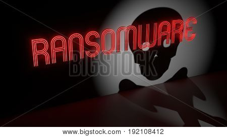 Red glowing ransomware neon sign on a dark wall and a spotlight with shadow of a skull information security concept 3D illustration
