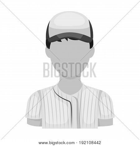 Baseball player. Baseball single icon in monochrome style vector symbol stock illustration .