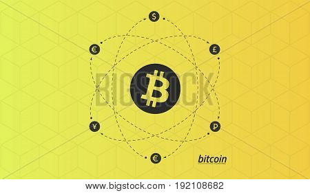 Bitcoin logo and signs of other currencies with exchange lines. Editable eps10 Vector. Transparent background.