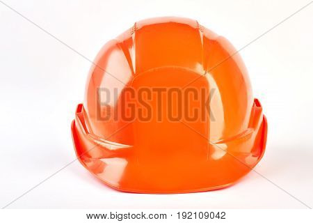 Accident protection safety helmet. Isolated hardhat on white background.