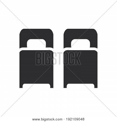 Two single beds icon filled flat sign solid glyph pictogram twin room vector illustration