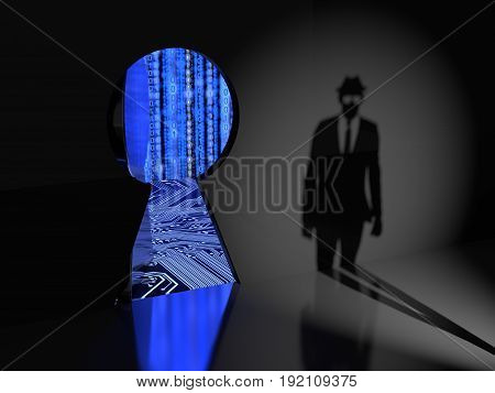 Keyhole in a wall with a thick metal door opening revealing blue binary data streams and a circuit board and a hacker silhouette approaching backdoor cybersecurity concept 3D illustration