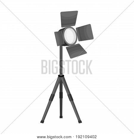 Searchlight for cinema.Making movie single icon in monochrome style vector symbol stock illustration .
