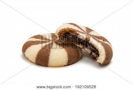 Biscuits with chocolate filling isolated on white background