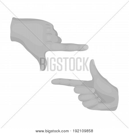 Gesture of the operator.Making movie single icon in monochrome style vector symbol stock illustration .