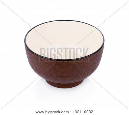 Closeup ceramics bowl isolated on white background