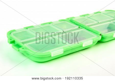 Fishing tackle box isolated. Plastic box for fishing.