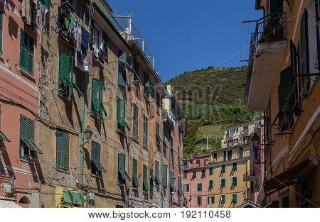 House facades Vernazza Cinque Terre Liguria Italy.