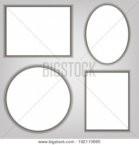 A Set Of Shadow Under The Frame. Realistic. Gray. For Your Design