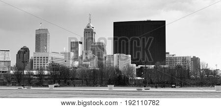 Downtown City Skyline Indianapolis Indiana USA Monochrome