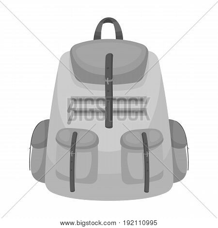 A backpack for things.Tent single icon in monochrome style vector symbol stock illustration .