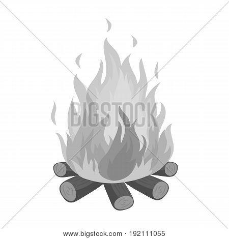 Bonfire.Tent single icon in monochrome style vector symbol stock illustration .
