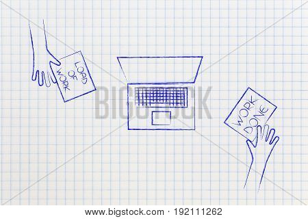 People Exchanging  Loads Of Work And Tasks Done At Work On A Desk With Laptop