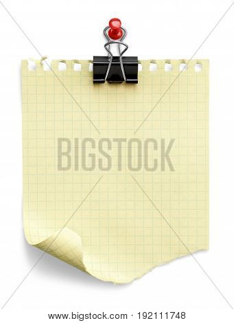 Paper note paper clip color yellow white object