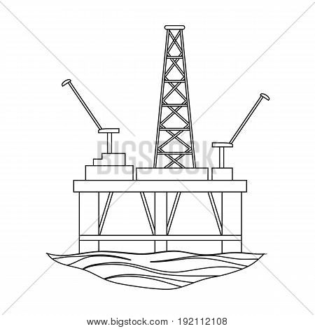 Oil rig on the water.Oil single icon in outline style vector symbol stock illustration .