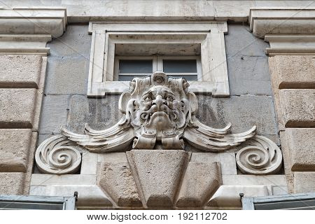 Genoa, Italy, June 5, 2017 : City Hall Of Genoa Architectural Detail. Genoa Is The Capital Of The It