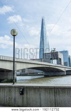 A view of London bridge with the Shard in the background