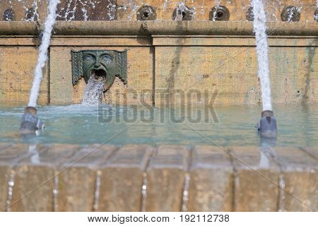 Genoa, Italy, June 5, 2017 : Fountain On  Piazza De Ferrari, The Main Square Of Genoa. Genoa Is The