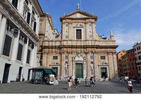 Genoa, Italy, June 5, 2017 : Chiesa Del Gesu In Genoa City Center. Genoa Is The Capital Of The Itali
