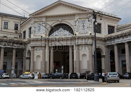 GENOA Italy June 5 2017 : Genova Piazza Principe railway station. Genoa is the capital of the Italian region of Liguria and the sixth-largest city in Italy.