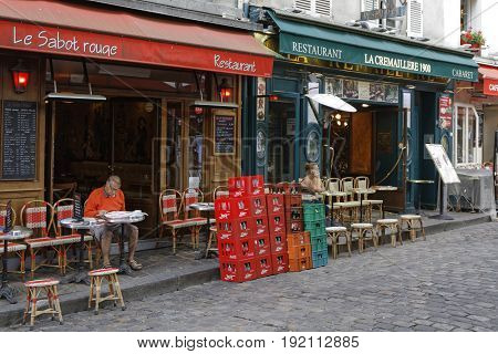 Paris, France, June 16, 2017 : Restaurants In Place Du Tertre. The Place Du Tertre Is Only A Few Str