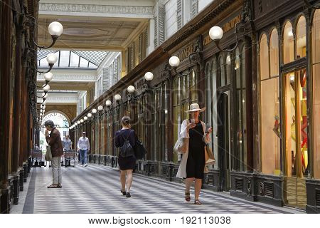 Paris, France, June 16, 2017 : The Galerie Vero-dodat Is One Of The Covered Passages Of Paris. It Wa