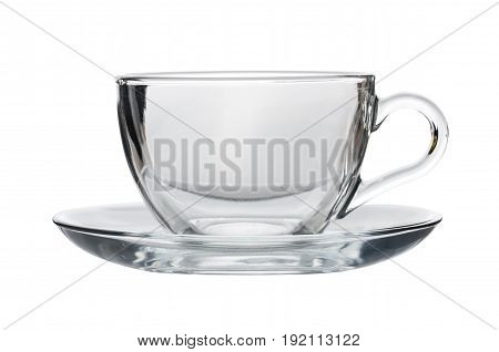 Empty Transparent Teacup With Saucer Isolated On White