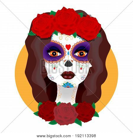 Bright vector illustration. The day of the Dead. Beautiful girl with roses