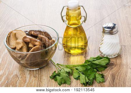 Marinated Lactarius, Bottle Of Vegetable Oil, Salt And Parsley