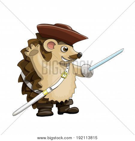 Hedgehog pirate with a saber, hat and black eye-patch