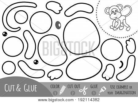Education paper game for children Monkey. Use scissors and glue to create the image.