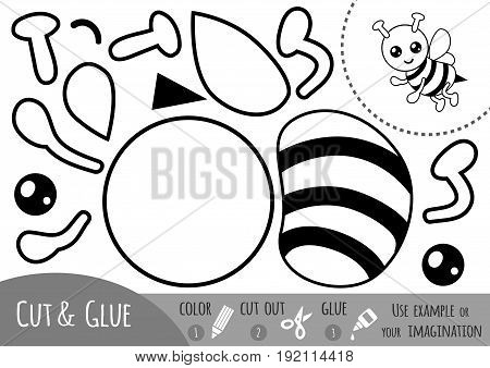 Education paper game for children Bee. Use scissors and glue to create the image.
