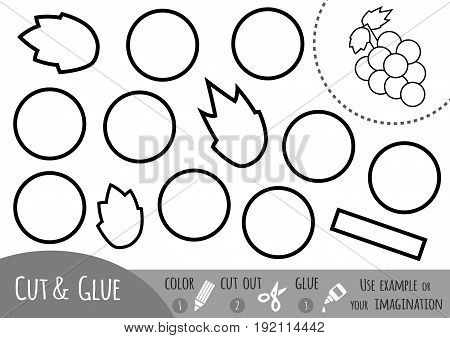 Education paper game for children Grapes. Use scissors and glue to create the image.