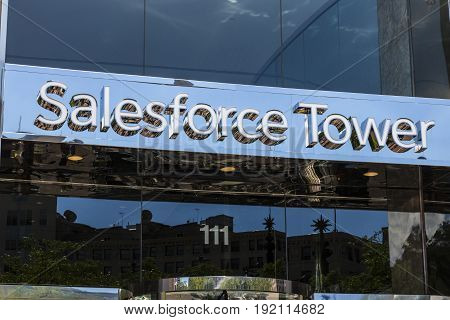 Indianapolis - Circa June 2017: Recently renamed Salesforce Tower. Salesforce.com is a cloud computing company and will add 800 new jobs to Indianapolis II