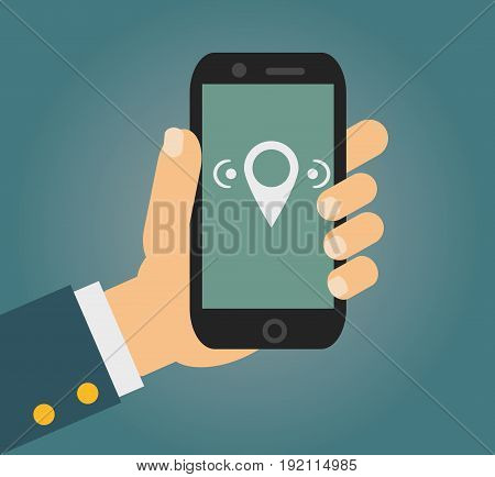 Vector illustration in flat style - male hand holding mobile phone with free wi fi sign on the screen