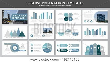 Set of blue and gray elements for multipurpose presentation template slides with graphs and charts. Leaflet, corporate report, marketing, advertising, annual report, book cover design.