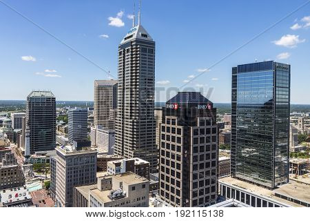 Indianapolis - Circa June 2017: Indianapolis Downtown Skyline on a Sunny Day including the Salesforce BMO Harris Regions Bank and KeyBank towers III