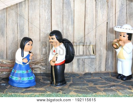 Mexican Nativity Scene With Holy Family In South American Style