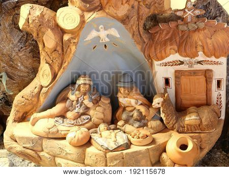 Nativity Scene Of Latin America With The Holy Family And The Dov