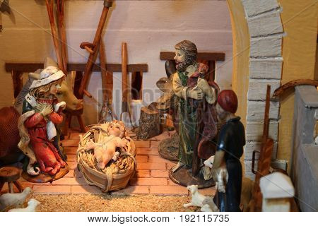 Nativity Scene With Holy Family In A Stall