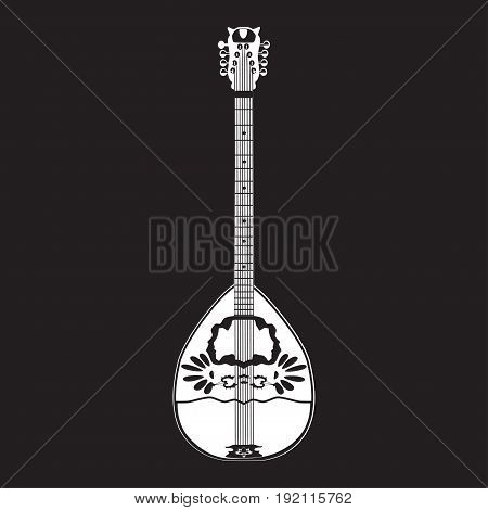 Vector illustration of white bouzouki template on black background. Greek folk musical instrument in flat style.