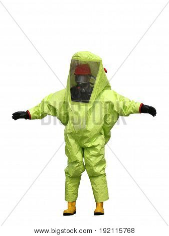 Person With Yellow Protective Suit On White Background