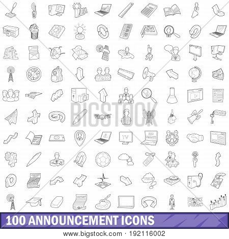 100 announcement icons set in outline style for any design vector illustration